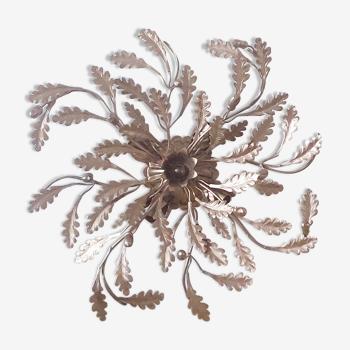 Applique plafonnier feuilles fleurs vintage métal