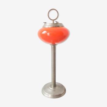 Lampe cendrier en verre opaline portugaise des années 60