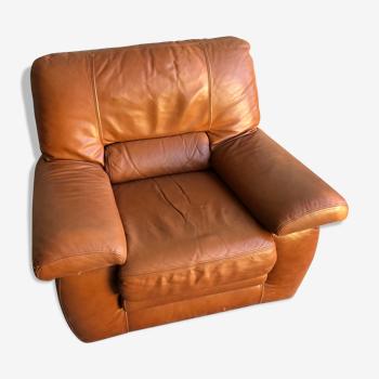 Ancien fauteuil cuir marron clair années 70 assise vintage