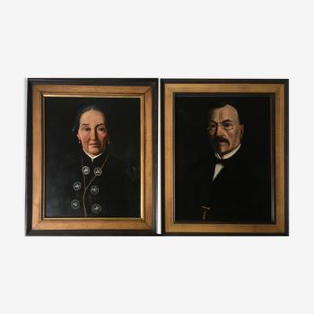 Tableaux XIX° Portrait de famille Vivandière et mari