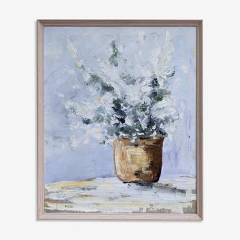 Peinture à l'huile florale encadrée vintage scandinave - 'Effervescence'