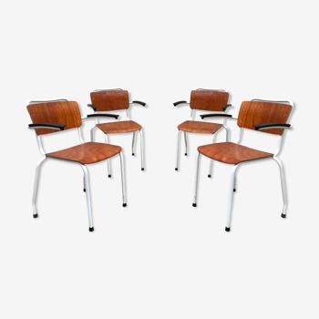 Lot de 4 chaises vintage Gispen 206