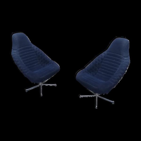 Duo de fauteuils vintage pivitants baquets velours fibre