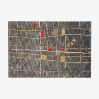Modern Abstract Wool Area Rug Blue Yellow Door Mat- 60x90cm
