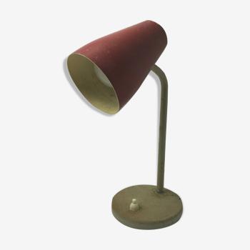 Lampe 1960 en metal chrome vintage abat jour rouge a restaurer