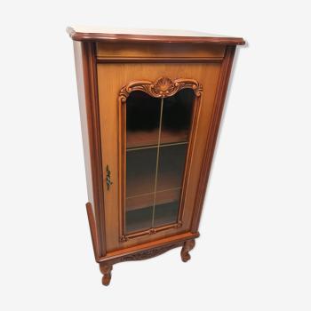 Meuble hifi avec porte vitrée vintage en bois