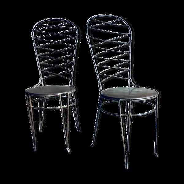 Lot de 2 chaises en fer forgé