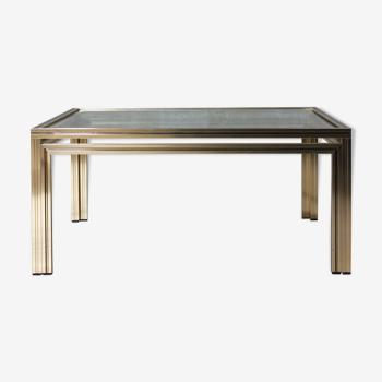 Table de centre carrée or par Pierre Vandel, années 1970