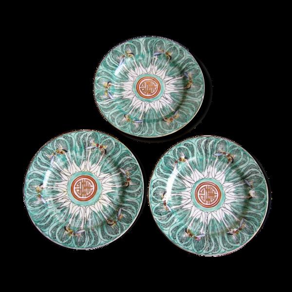 Lot de 3 plats en porcelaine de Chine Canton décor papillons Guangdong