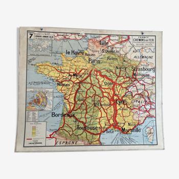 Carte scolaire ancienne vidal lablache - chemins de fers-