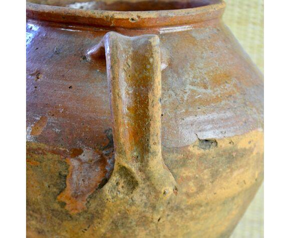 Pot à graisse béarnais XIX en terre vernissée