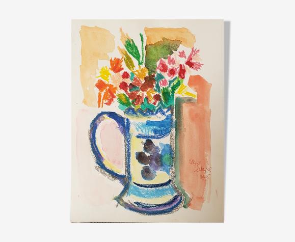 Fleurs crayon gras & peinture à l'eau Ulysse Latapie