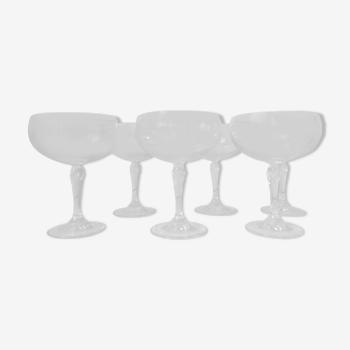 Coupes à champagne en cristal de Bohême