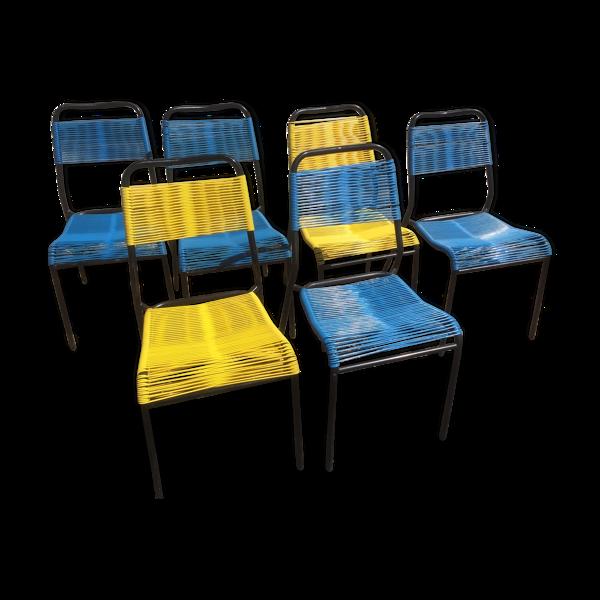 Selency Lot de 6 chaises Scoubidou des années 70