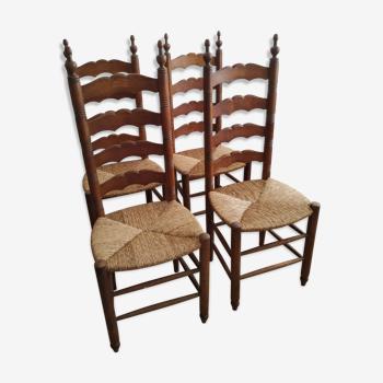 Quatre chaises paillées style provençal