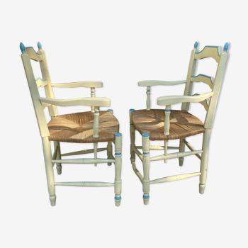 Paire de fauteuils paillés Provence