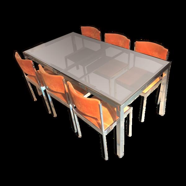 Table rectangulaire par Milo Baughman & 6 chaises