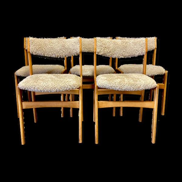 Selency Suite de 5 chaises 1950 design scandinave