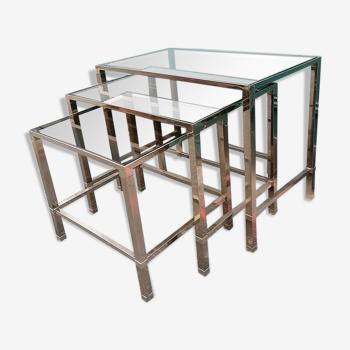 Tables gigogne en acier chromé verre fumé 1970