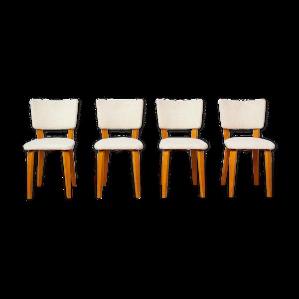 Selency 4 chaises de Cor Alons bois 1950