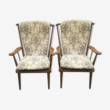 Duo de fauteuils à barreaux Bauman