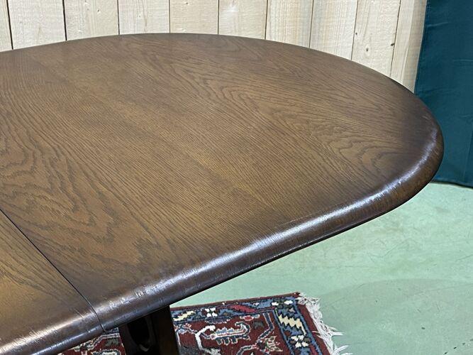 Table de salle à manger des années 1970 en chêne avec un allonge papillon
