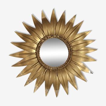Miroir soleil laiton doré. vintage 50s