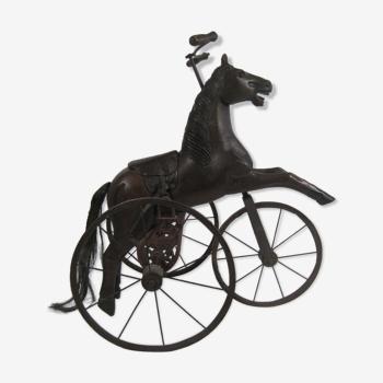 Ancien jouet tricycle cheval en bois métal cuir écrin sulfure fin XIX toy horse