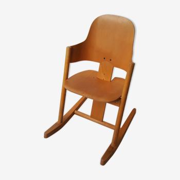 Chaise berçante vintage pour enfants années 1970