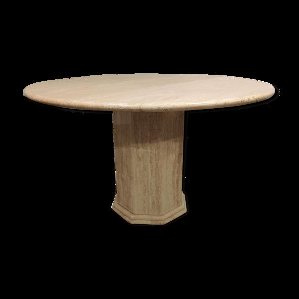 Table à manger italienne de travertin ronde années 1970