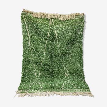 Tapis berbère beni ouarain vert végétal unique 170x272cm