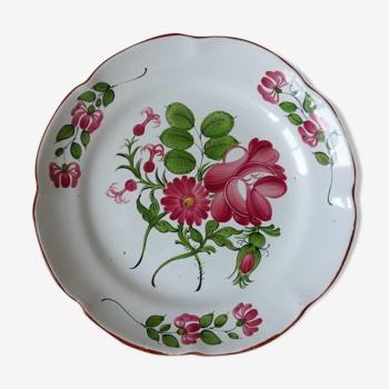 Assiette ancienne en faïence de l'Est de la France polychrome à décor de fleur XIX ème