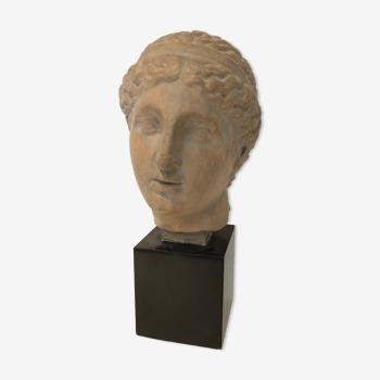 Buste déesse grecque socle marbre 1970