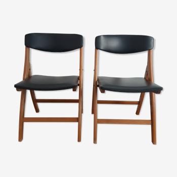 Lot de 2 chaises en bois et skai