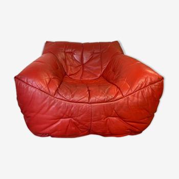 Fauteuil Roche Bobois en cuir conçu par Hans Hopfer 1980