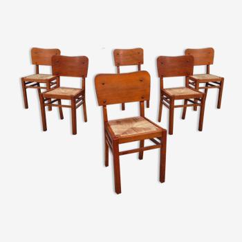 Lot de 6 chaises bois paille 1950