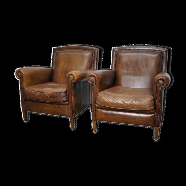Set de 2 fauteuils club vintage en cuir cognac Pays-Bas