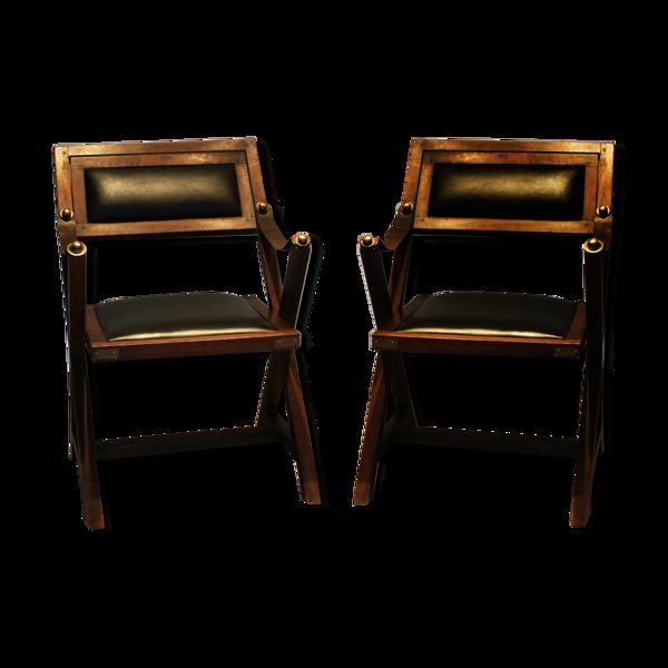 Ensemble de 2 chaises enfants vintage en cuir, 1970