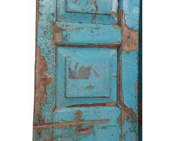 Paravent bleu patine d'origine vieux teck Inde