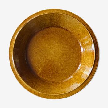 Brown ceramic fruit basket