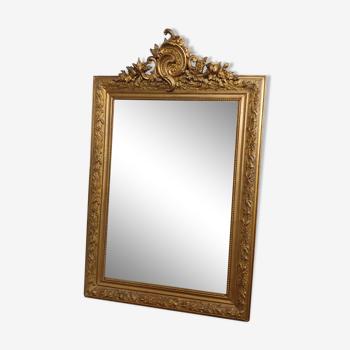 Miroir rocaille doré rectangulaire