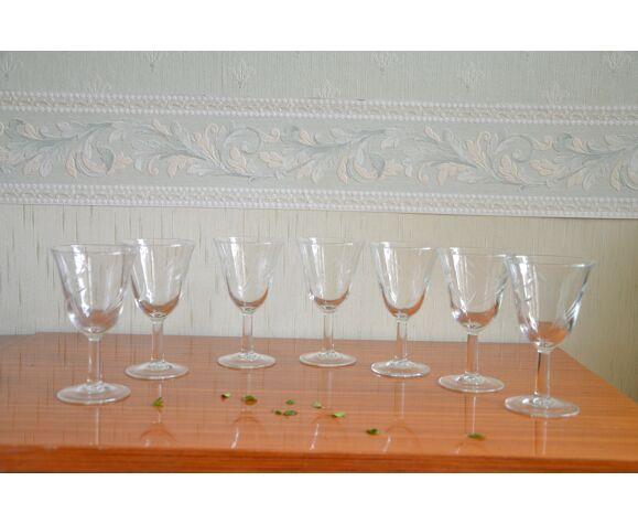 Lot de 7 verres à pied motif herbes folles