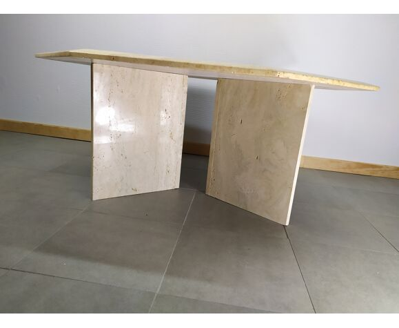 Table basse hexagonale marbre travertin
