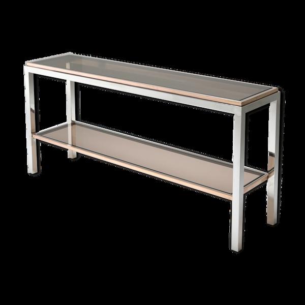 Selency Table console à deux niveaux en chrome et laiton