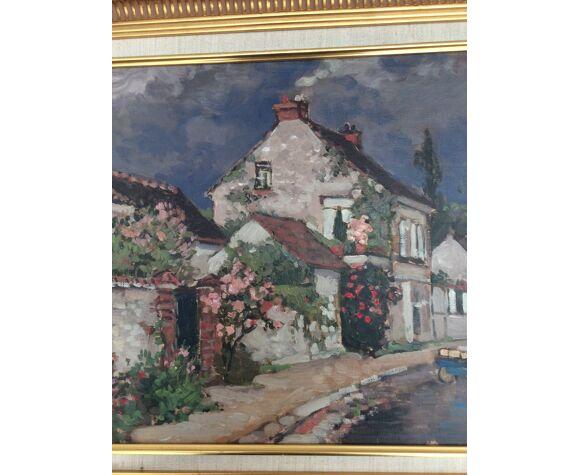 Tableau huile sur toile «village français «peintre valéry sekret né 1950 russe dimension : 40x60cm
