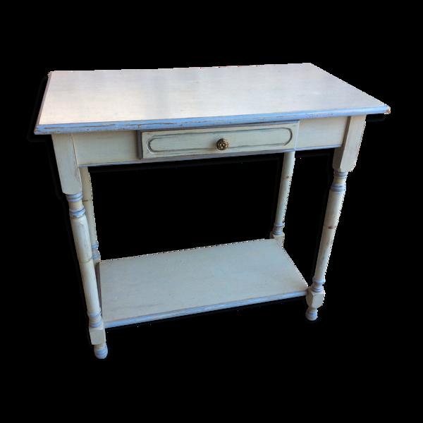 Table peinte et patinée gris-bleu