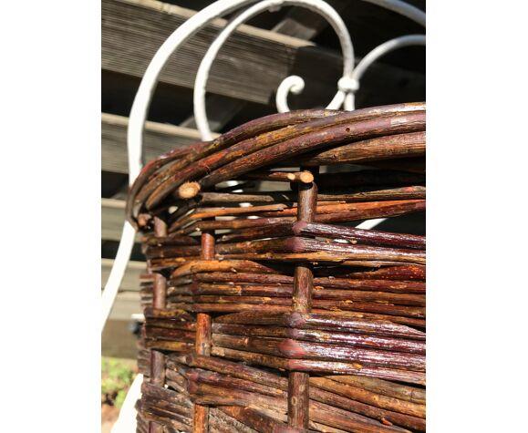 Corbeille en osier panier rustique en rotin pour jardin ou cheminée