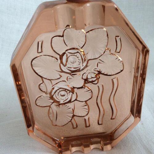 Cendrier en verre rose art déco