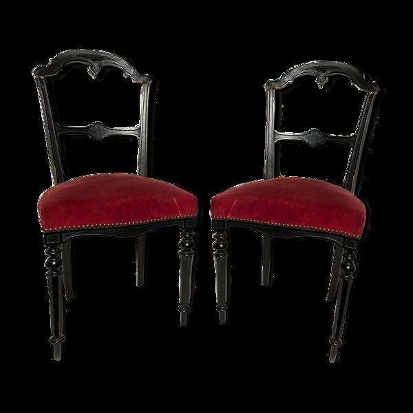 Paire de chaises Napoléon III bois noirci et velours rouge