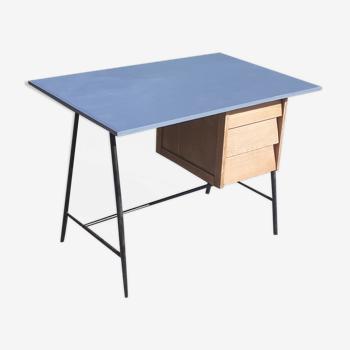 Bureau 3 tiroirs bois et métal noir année 50 vintage